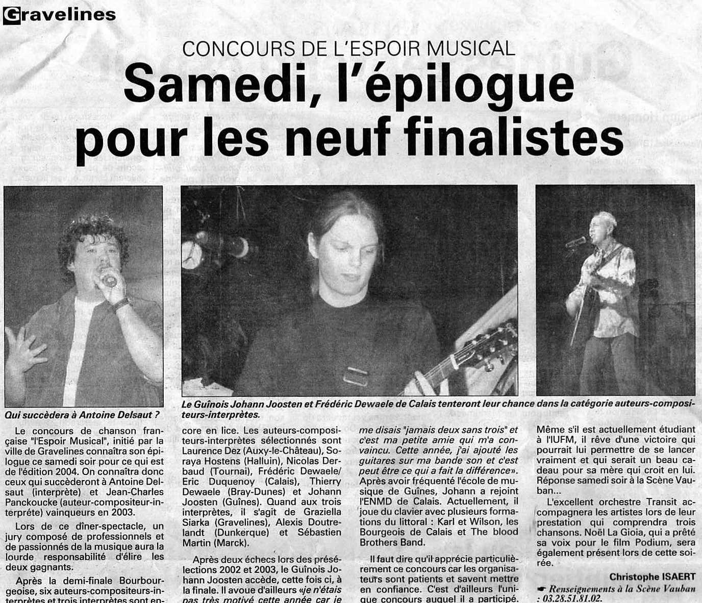 La Voix du Nord 22 avril 2004